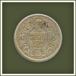 1916 1/4 Quarter Rupee George V King Emperor Calcutta Mint