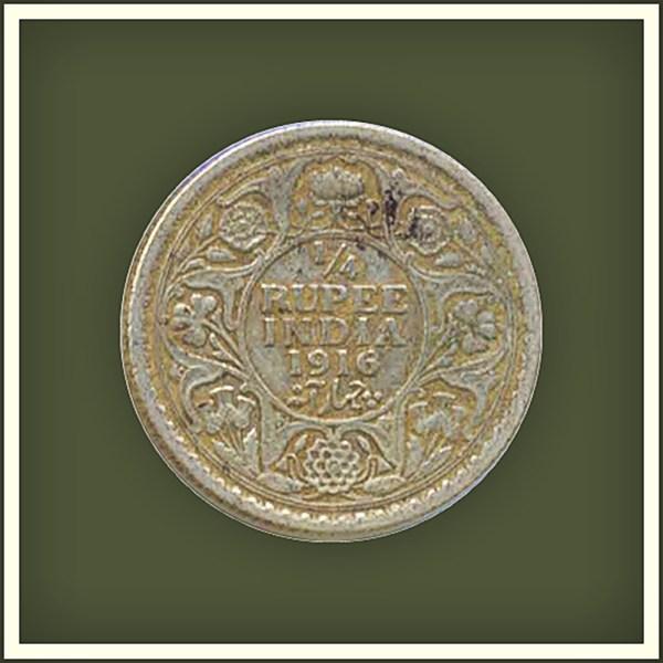 1916 1/4 Quarter Rupee George V King Emperor Calcutta Mint