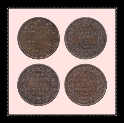 1929 1/4 One Quarter Anna George V King Emperor Calcutta Mint