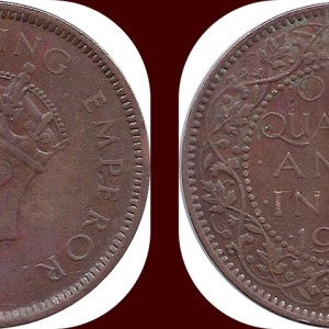 1939 1 Quarter Anna George VI King Emperor Calcutta Mint - Best Buy