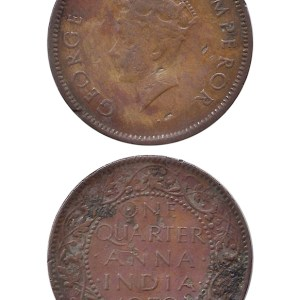 1939 14 One Quarter Anna George VI King Emperor Bombay Mint - Best Buy