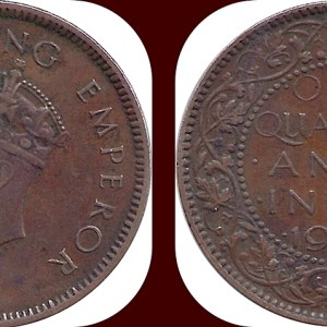 1939 1/4 One Quarter Anna George VI King Emperor Calcutta Mint - Best Buy
