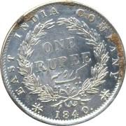 1840 1 Rupee Silver Coin Queen continuous Legend - RARE