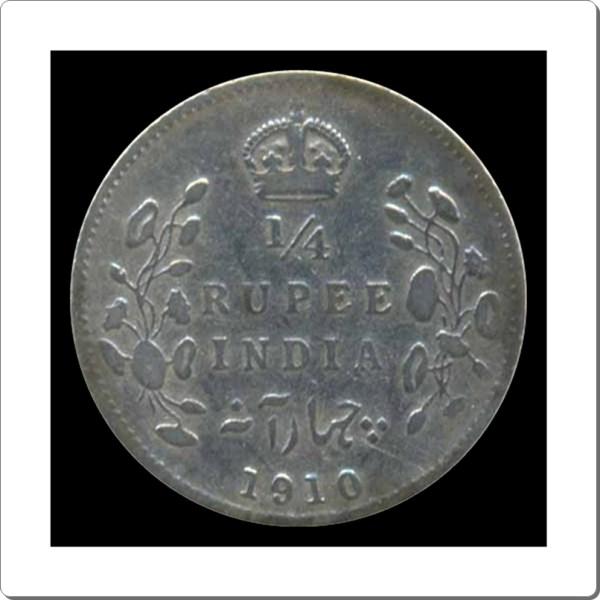 1910 1/4 Quarter Rupee Edward VII King Emperor Bombay Mint