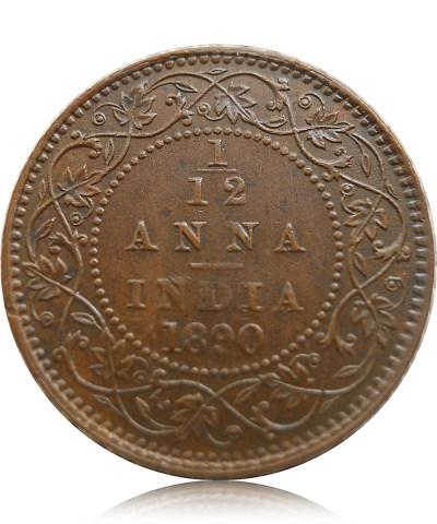 1890 1/12 One Twelve Anna British India Queen Victoria Empress Calcutta Mint - Worth Buy