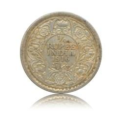 1916 1/4 Quarter Rupee Silver Coin King George V Calcutta Mint - Worth Buy - RARE