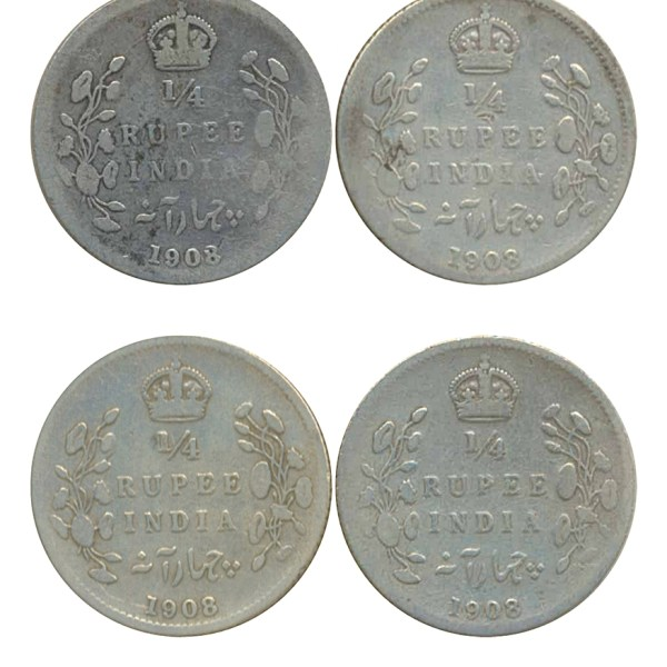 1908 1/4 Quarter Rupee Silver Coin King Edward VII Calcutta Mint - Best Buy - UGET - 4 COINS
