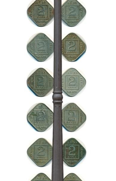 RARE Set of 2 Annas King George V 1918 to 1936 Calcutta & Bombay Mint