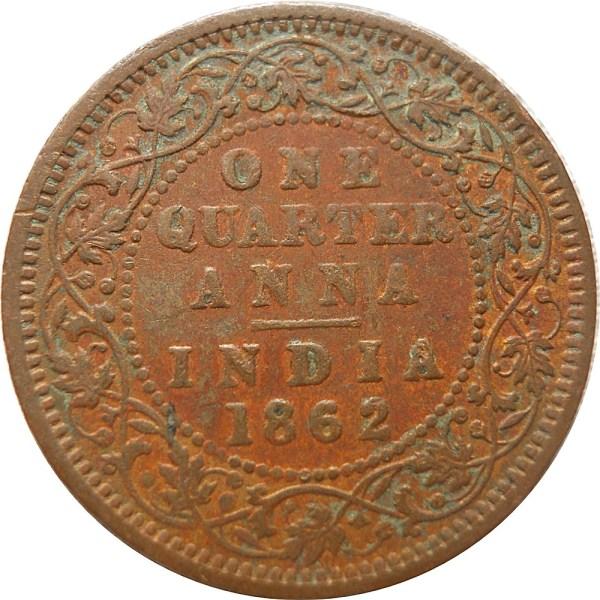 1862 1/4 Quarter Anna Queen Victoria RARE COIN