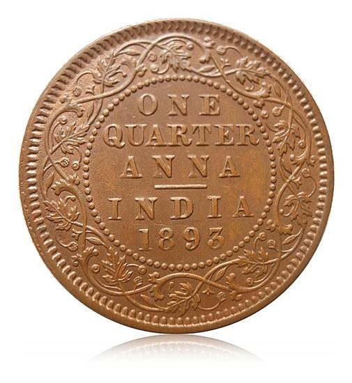 1893 1/4 Quarter Anna Queen Victoria Empress Calcutta mint - Best Buy