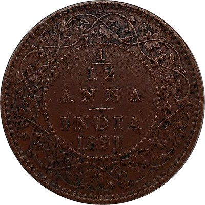 British India 1891 1/12 Anna Coin Queen Victoria Empress Calcutta Mint - Best Buy
