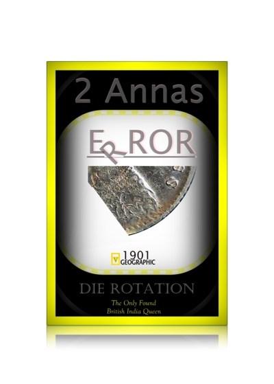 1901 2 Annas Silver Coin Queen Victoria Empress - Die Rotation - v mark Error Coin -