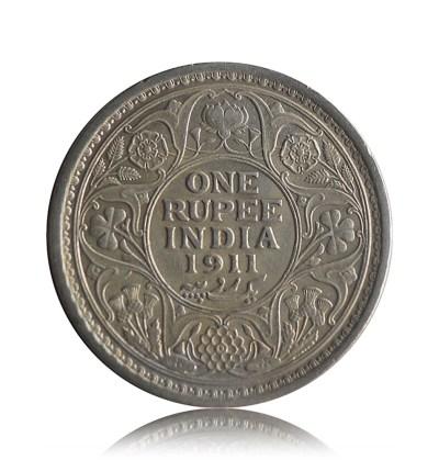King George V One Rupee 1911 Calcutta mint