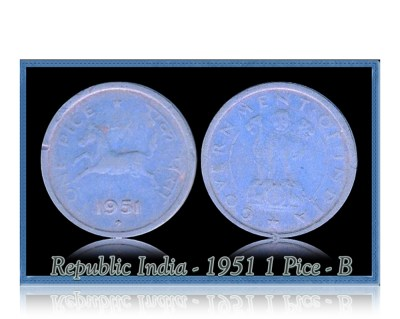 1955  1 One Pice Horse Coin Republic India Bombay Mint