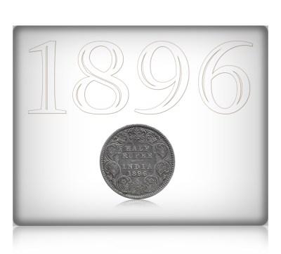 1896 1/2 Rupee British India Queen Victoria Calcutta Mint - Rare Coin