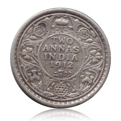 1912 British India King George V 2 Annas Bombay Mint Rare
