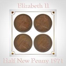 1971 1/2 Half New Penny Elizabeth II D.Greg.F.D. Copper Nickel Coin