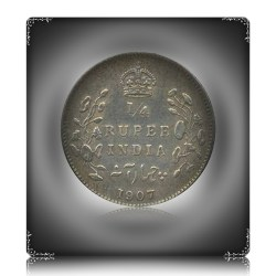 1907  1/4 Quarter Rupee Coin British India King Edward VII Calcutta Mint