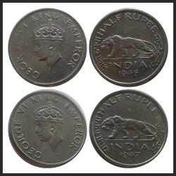 1946 1947 1/2 Half Rupee Coin King George VI Bombay Mint - RARE