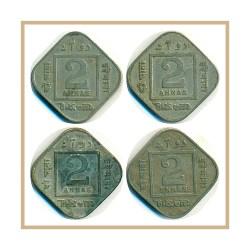 1919 1923 2 Annas Coin British India King George VI Calcutta Mint - 4 Coins
