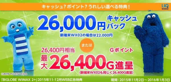 biglobeキャッシュバック26000円