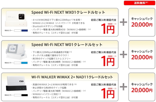 @nifty WiMAX2+で20000円のキャッシュバック