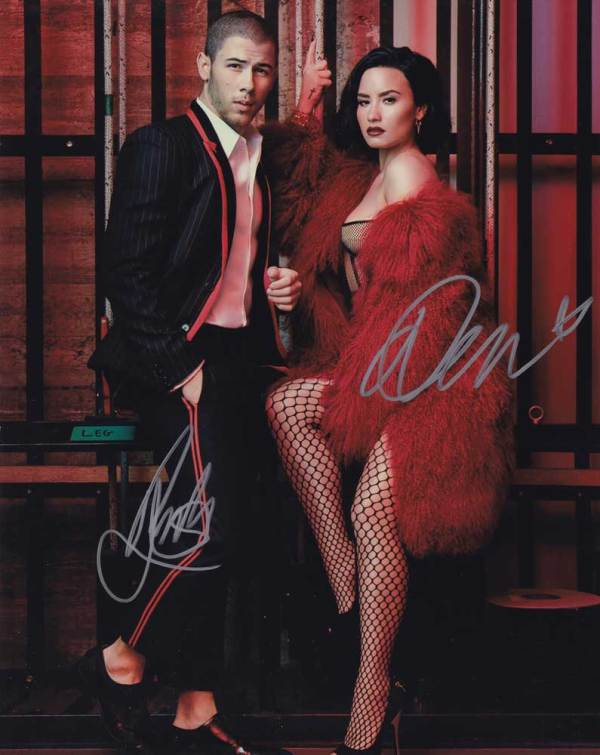 Demi Lovato and Nick Jonas In-person Autographed Photo