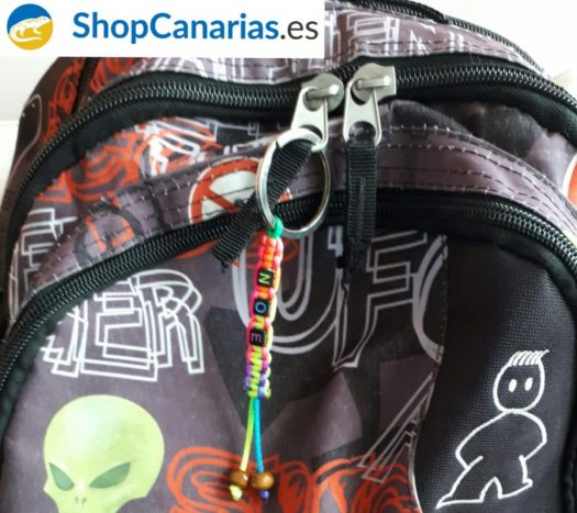 Customized key chain ShopCanarias.es in a back pack