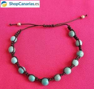 Pulsera ShopCanarias.es de macramé con azul turquesa