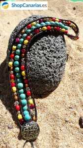 Pulsera Cosida a Cuero Shopcanarias.es triple con azul turquesa