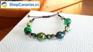 Pulsera Macramé Shopcanarias.es con tonos verdosos