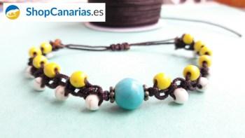 Pulsera Macramé Shopcanarias.es tricolor con bolas amarillas