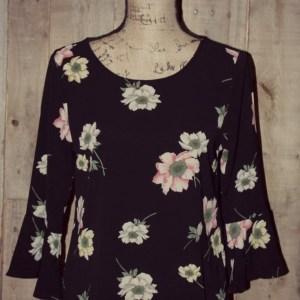 d713eeb04409 Blu Pepper Black Floral Bell Sleeve Top