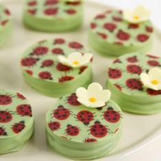 Ladybugandflowerdipped sandwichcookies