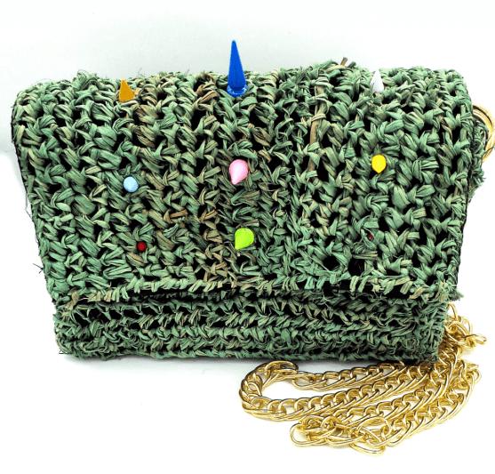 green straw bag
