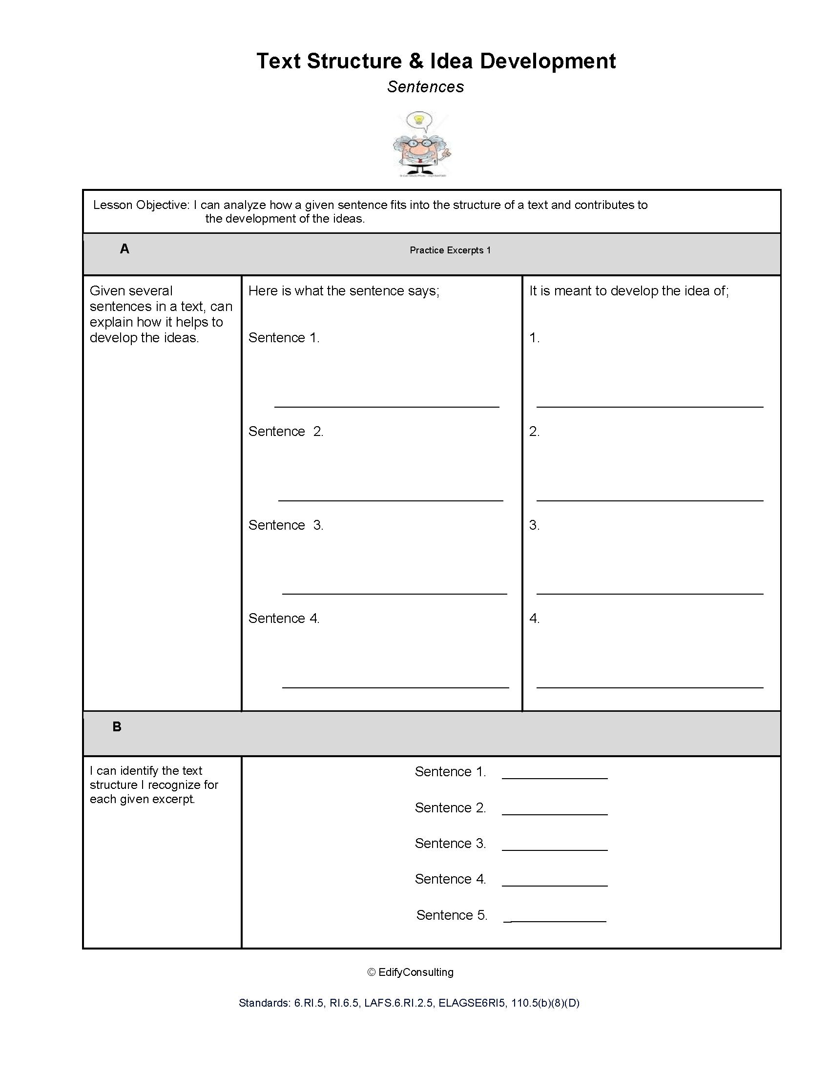 Arizona Worksheets 6 Ri 5 Text Structure And Idea
