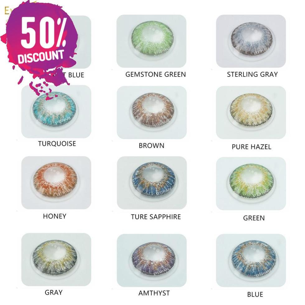 3 Tone Series Eye Contacts Color Lenses for Colored Eyes Multiple Shades Blue Green Gray