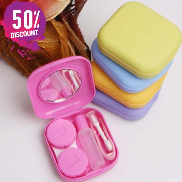 Square Eye Contact Lenses Case with Mirror Colored Eye Lens Travel Kit Box Accessories FREE SHIPPING 5