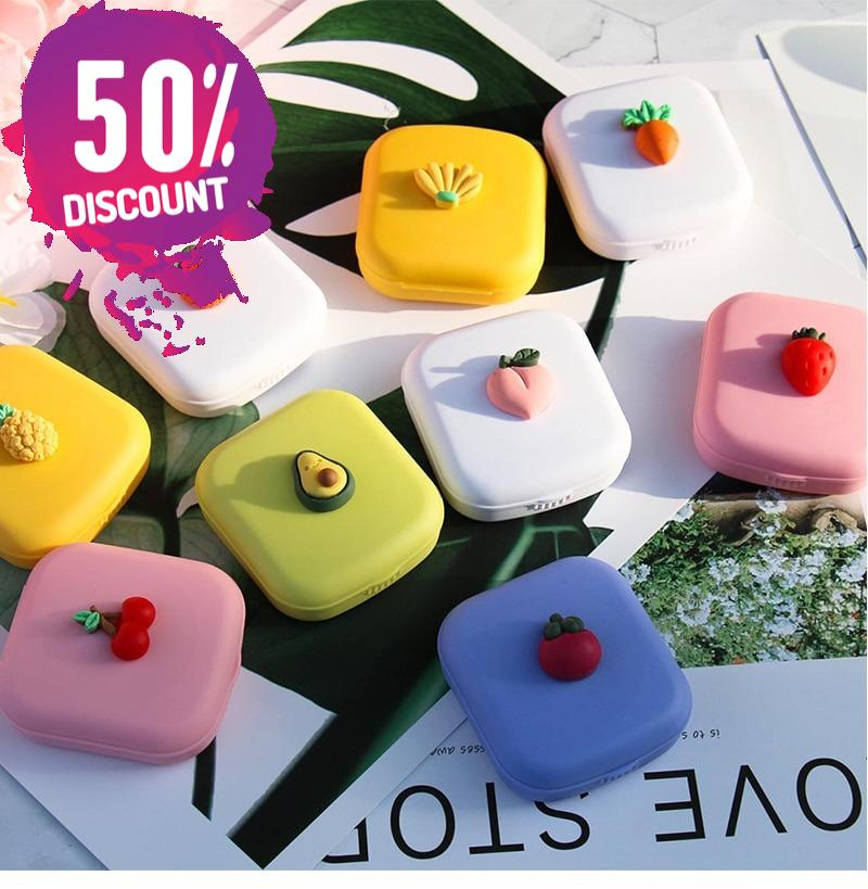 Fruit Eye Contact Lenses Case With Mirror Colored Contact Lenses Travel Kit Box