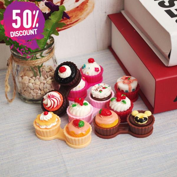 Cartoon Cream Cake Double Eye Contact Lenses Box Case Kit For Eyes Care Accessories FREE SHIPPING 4