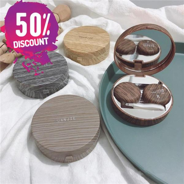 Beautiful Wooden Eye Contact lenses Case Container with Mirror Accessories FREE SHIPPING 5