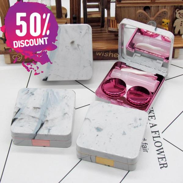Marble Square Eye Contact Lenses Case with Mirror Contact Lens Container Box Accessories FREE SHIPPING 3