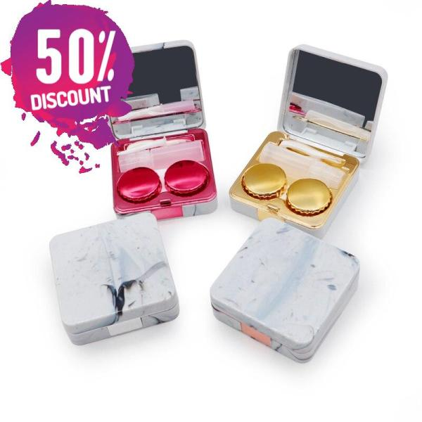 Marble Square Eye Contact Lenses Case with Mirror Contact Lens Container Box Accessories FREE SHIPPING 8