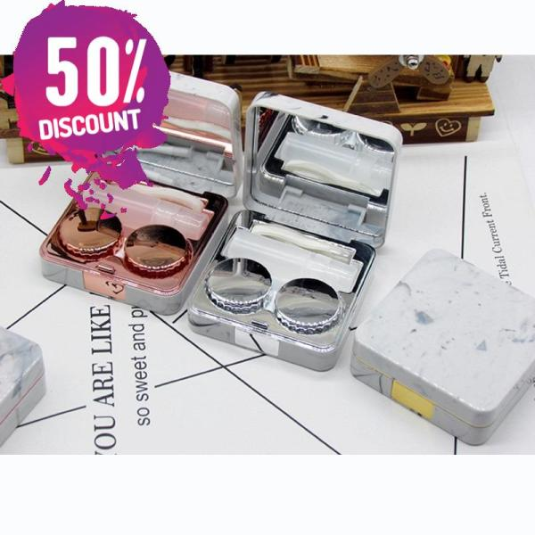 Marble Square Eye Contact Lenses Case with Mirror Contact Lens Container Box Accessories FREE SHIPPING 5