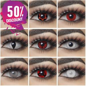 NARUTO Sharingan Colored Contact Lens for Red White Anime Eyes Accessories FREE SHIPPING