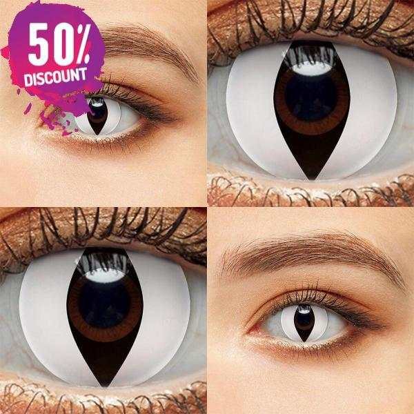 Blackout Eye Contacts For Cosplay Halloween White and Black Colored Cat Eyes Eye Contact Lenses FREE SHIPPING 5