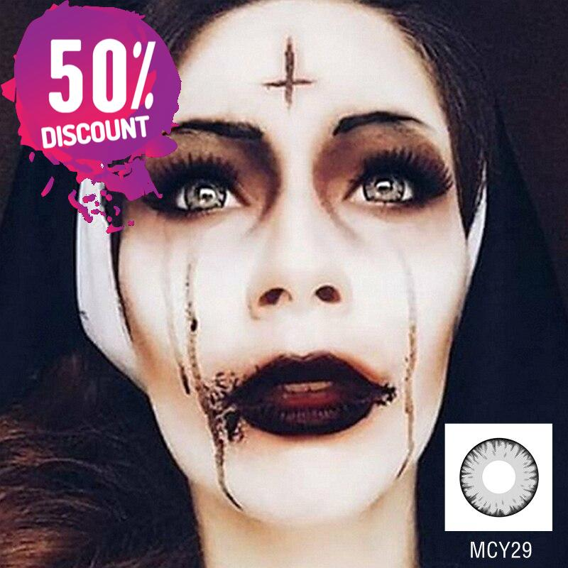 Green Red Yellow Purple Gray Pink Cosplay Halloween Crazy Eye Contact Lenses - 1 Year Use