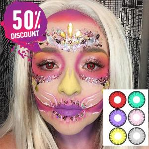 Green Red Yellow Purple Gray Pink Cosplay Halloween Crazy Eye Contact Lenses – 1 Year Use Eye Contact Lenses FREE SHIPPING