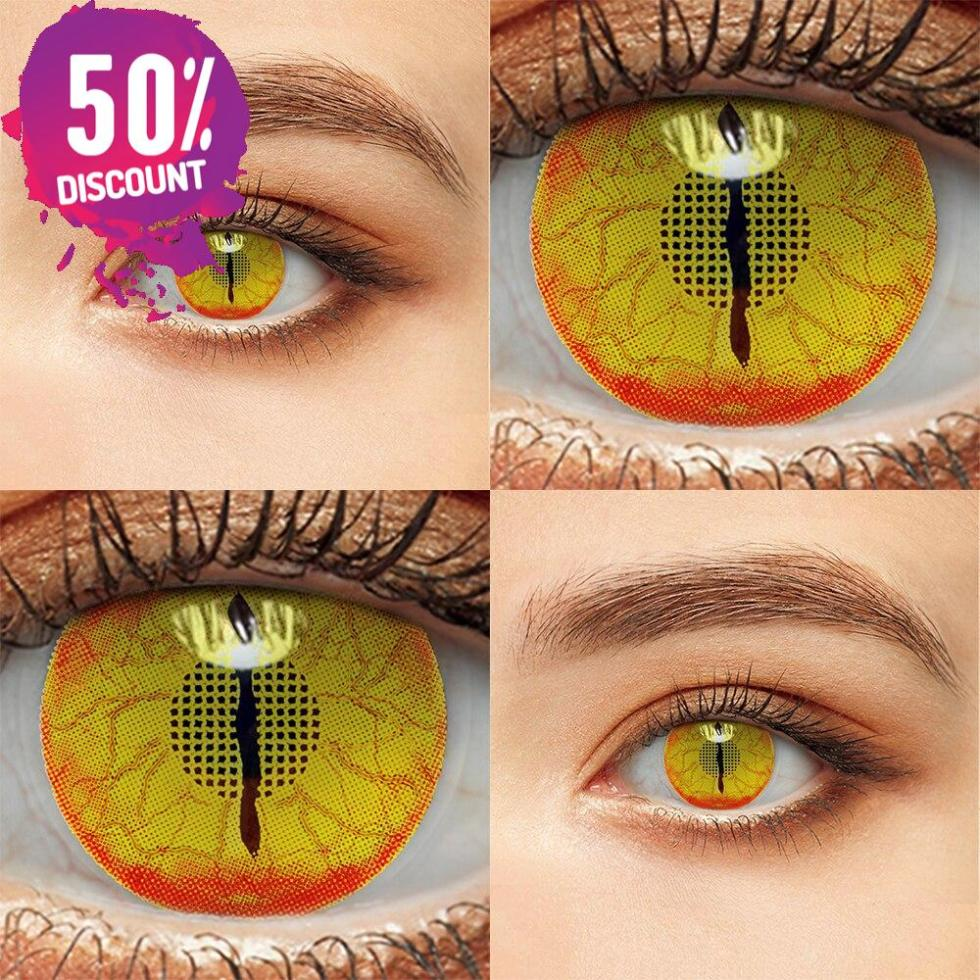 Crazy Colored Cosplay Eye Contact Lenses for Halloween & Anime Eyes-1 Year Use