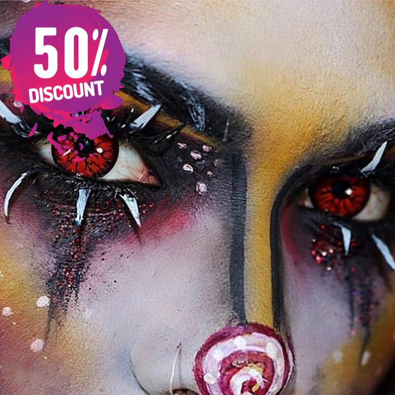 Crazy Cosplay Red Green Snake Eye Halloween Eye Contact Lenses-1 Year Use-Premium Quality